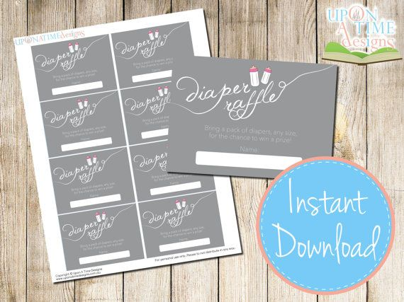 INSTANT DOWNLOAD  Diaper Raffle Cards  by UponATimeDesigns on Etsy, $4.00