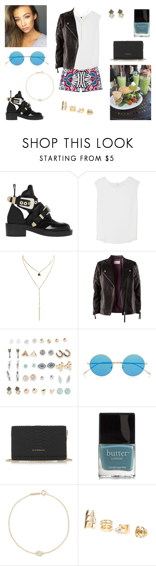 """""""13/11/16"""" by milena-serranista ❤ liked on Polyvore featuring Balenciaga, Joie, H&M, Aéropostale, Prada, Illesteva, Givenchy, Butter London and Jennifer Meyer Jewelry"""
