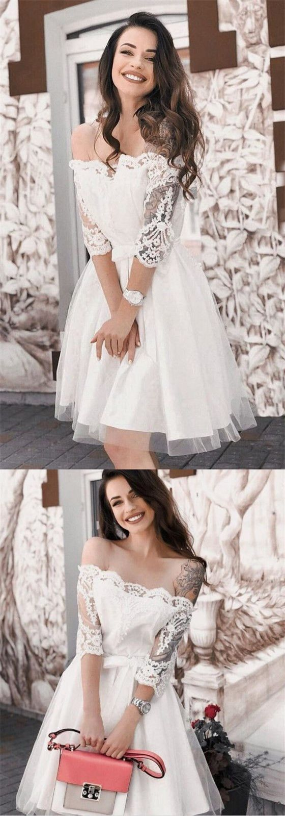 Aline offshoulder sleeves white short cheap homecoming party