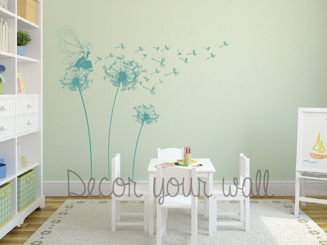 Fairy blowing dandelion wall decal wall stickerrsery wall fairy blowing dandelion wall decal wall stickerrsery wall decal by decoryourwall on etsy amipublicfo Images