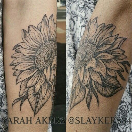 Sunflower Dot Shaded Tattoo For Kiara Tattoo Shading Dot Work Tattoo Tattoos