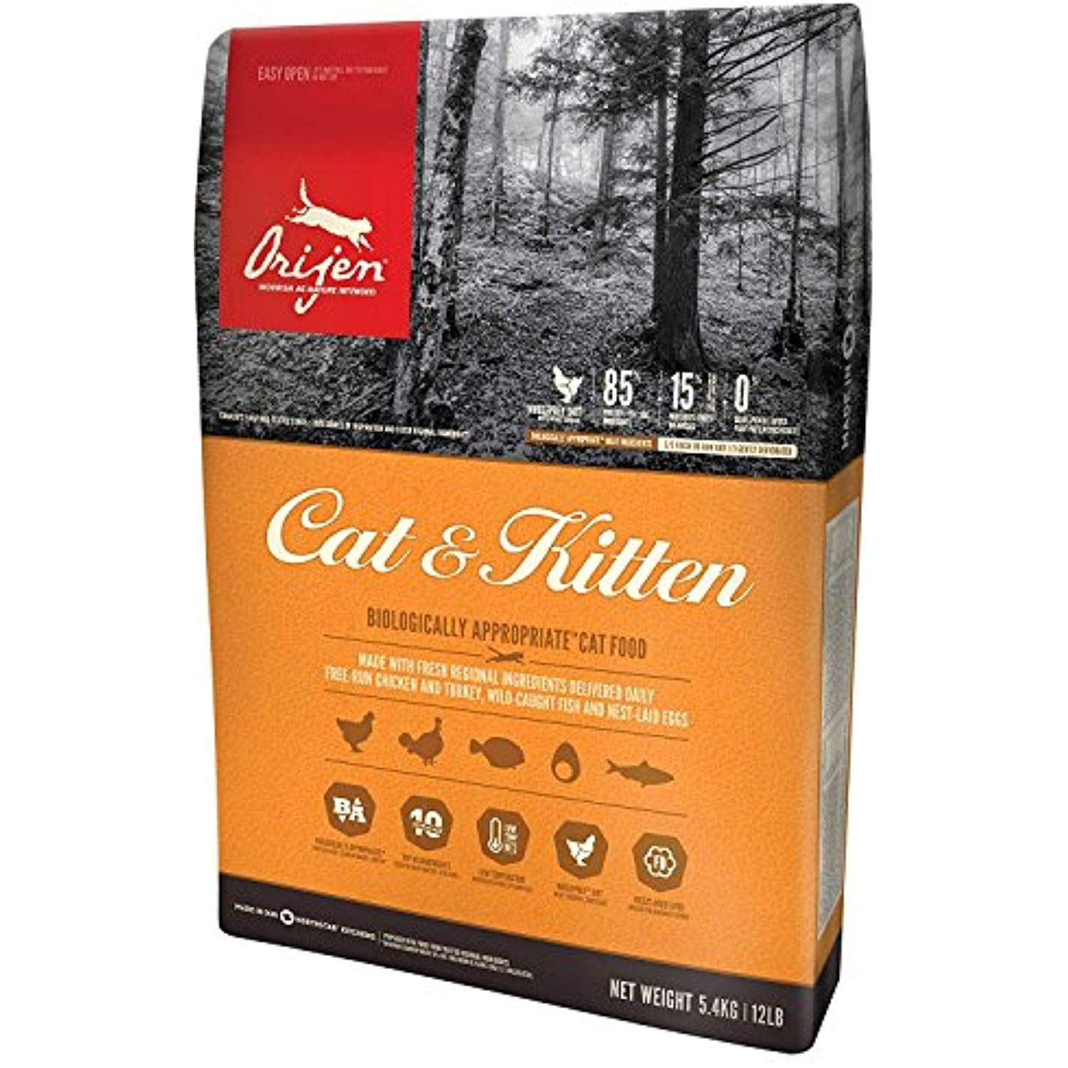 Orijen Cat And Kitten Dry Cat Food 12 Lb Bag Fast Delivery By
