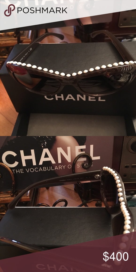 95bca0d947e3 Chanel Pearl Lined Tortoise Sunglasses Chanel Pearl Lined Tortoise  Sunglasses Chanel Accessories Sunglasses