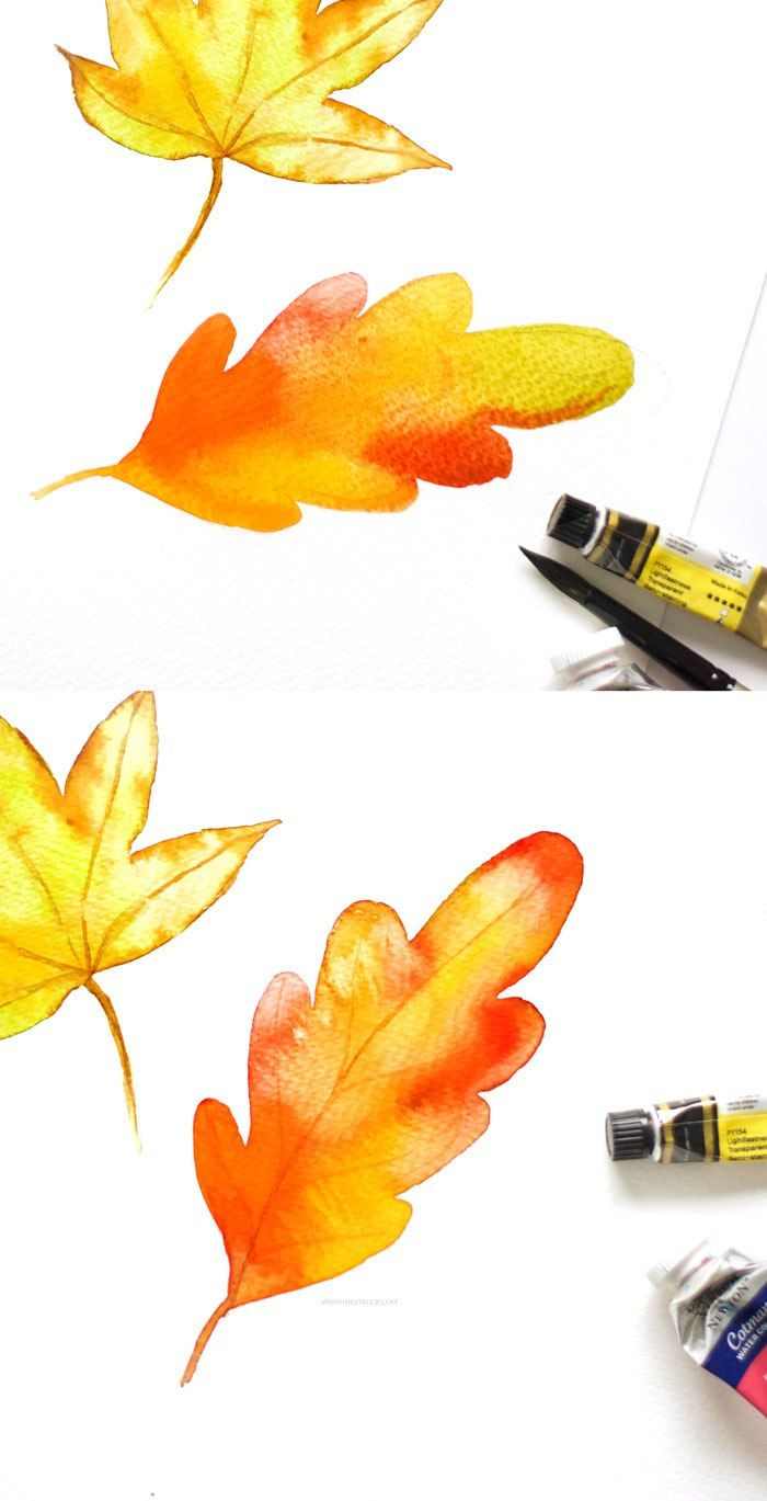 Three Ways To Paint A Watercolor Fall Leaf Watercolor Painting
