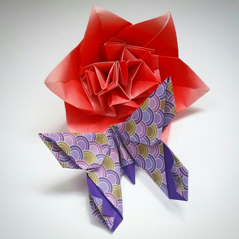 Origami peony flower with LaFosse butterfly Folded by Majomajo