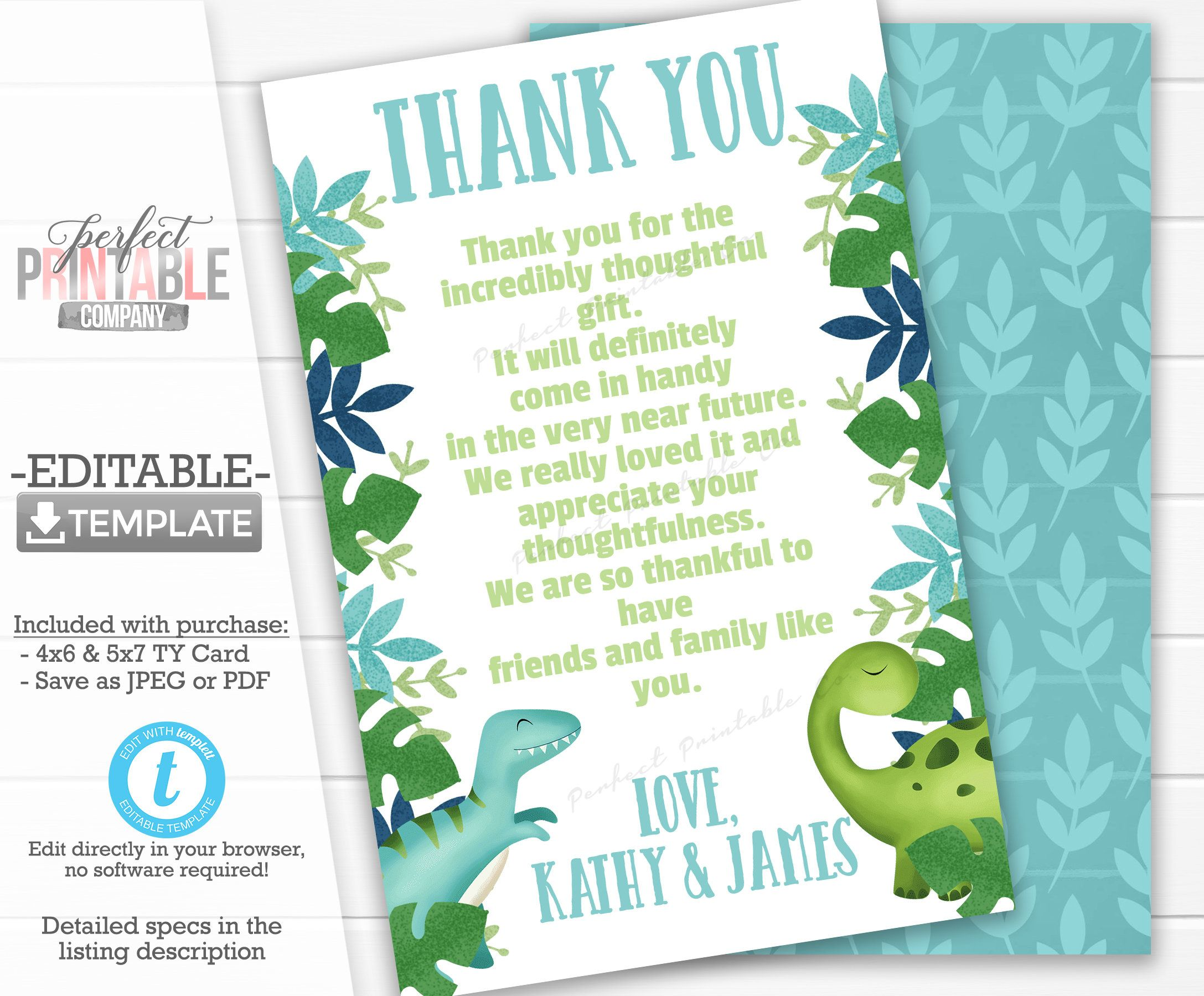 Dinosaur Thank You Card Dinosaur Thank You Note Dinosaur Etsy Birthday Thank You Cards Print Thank You Cards Baby Shower Thank You Cards