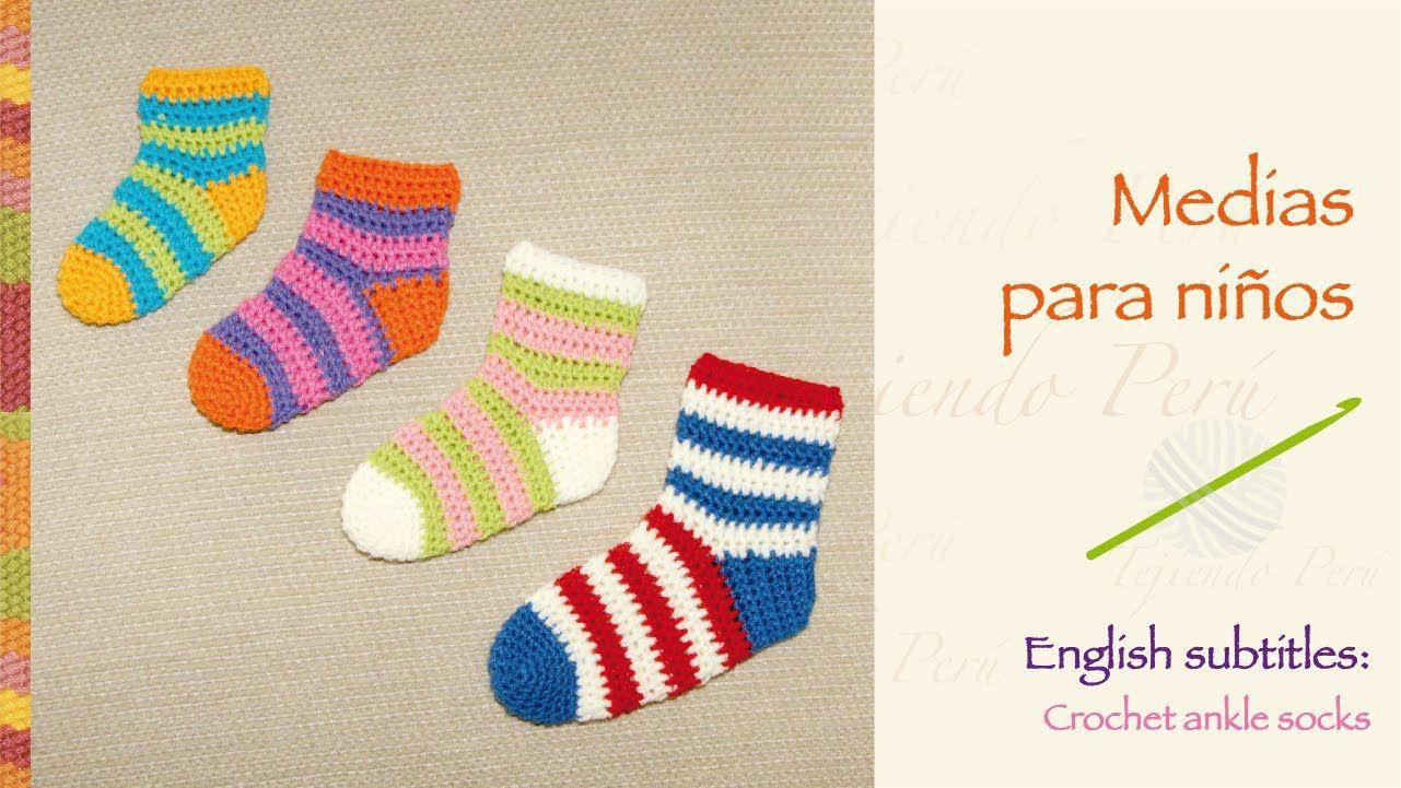 Medias o calcetines tejidas a crochet / English subtitles crochet ...