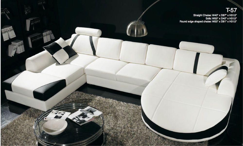 Modern Contemporary White U0026 Black Leather Sectional Sofa Dual Chaise T 57
