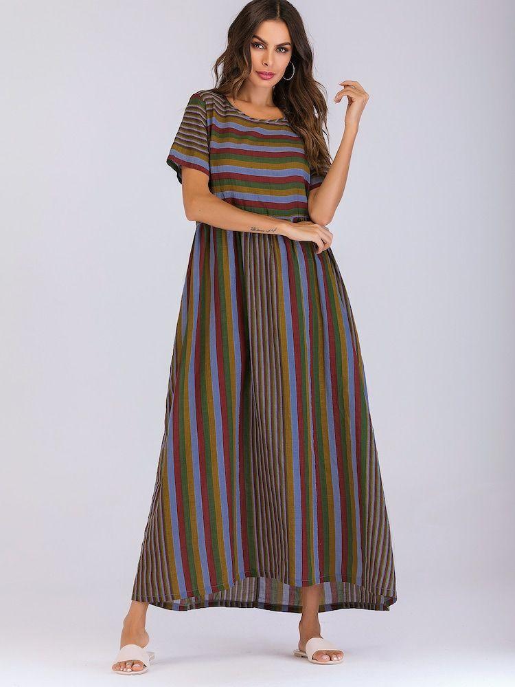 51a380bd38 Striped Smock Maxi Dress | SHEIN | Dress you up in my ❤ in 2019 ...