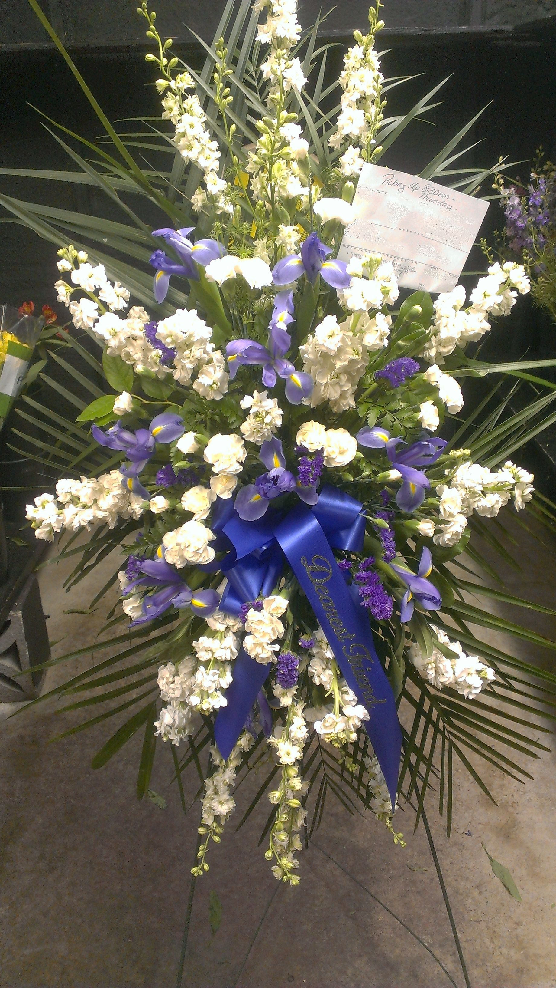 Here Is A Funeral Spray On A Stand In Memory Of A The Dearest Friend
