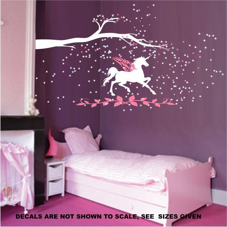 Unicorn fantasy girls bedroom wall art sticker vinyl decal various sizes unicorn bedroom ideas for Unicorn bedroom theme