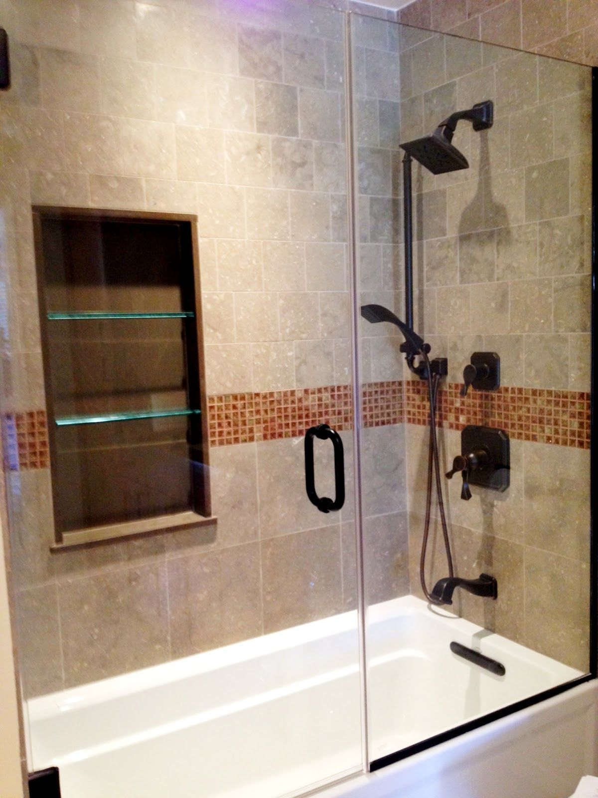 Merveilleux Elegant Brown Wooden Wall Shelves With Classic Shower And Glasses Door Feat  Nice Wall Lights For Small Bathroom Remodel Ideas~ Excellent Home Interior  ...