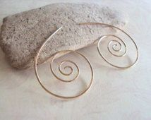 Hammered Gold Spiral Earrings, Nautilus Shell Jewelry, Gold Swirl Earrings