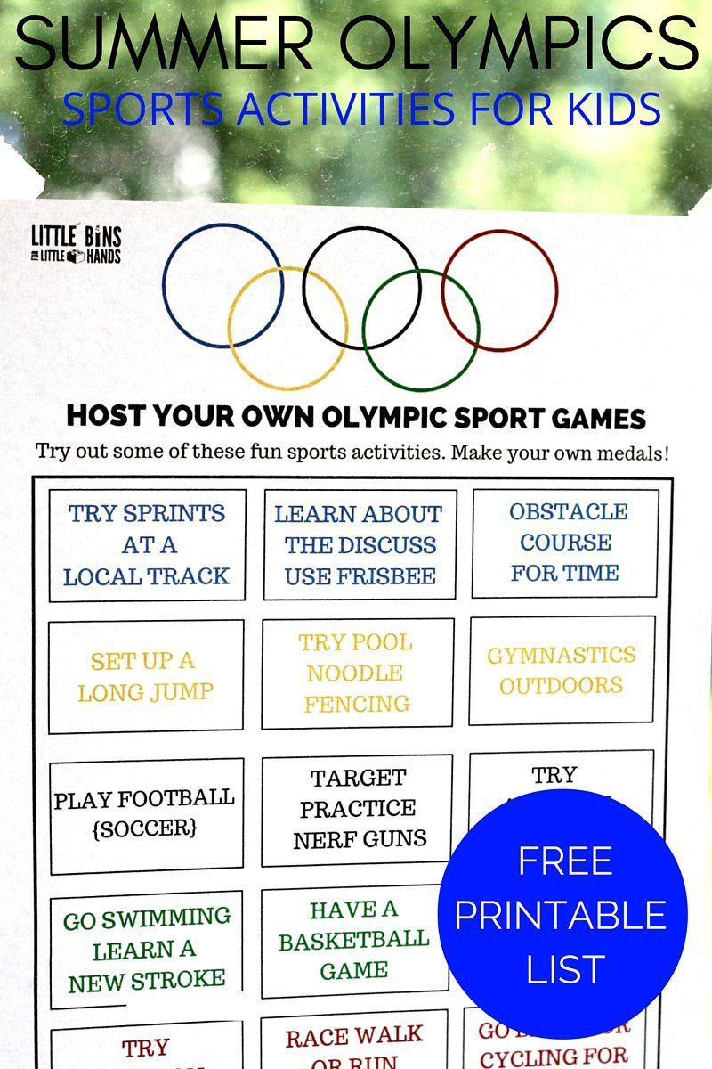 olympic sports activities printable for kids summer olympics