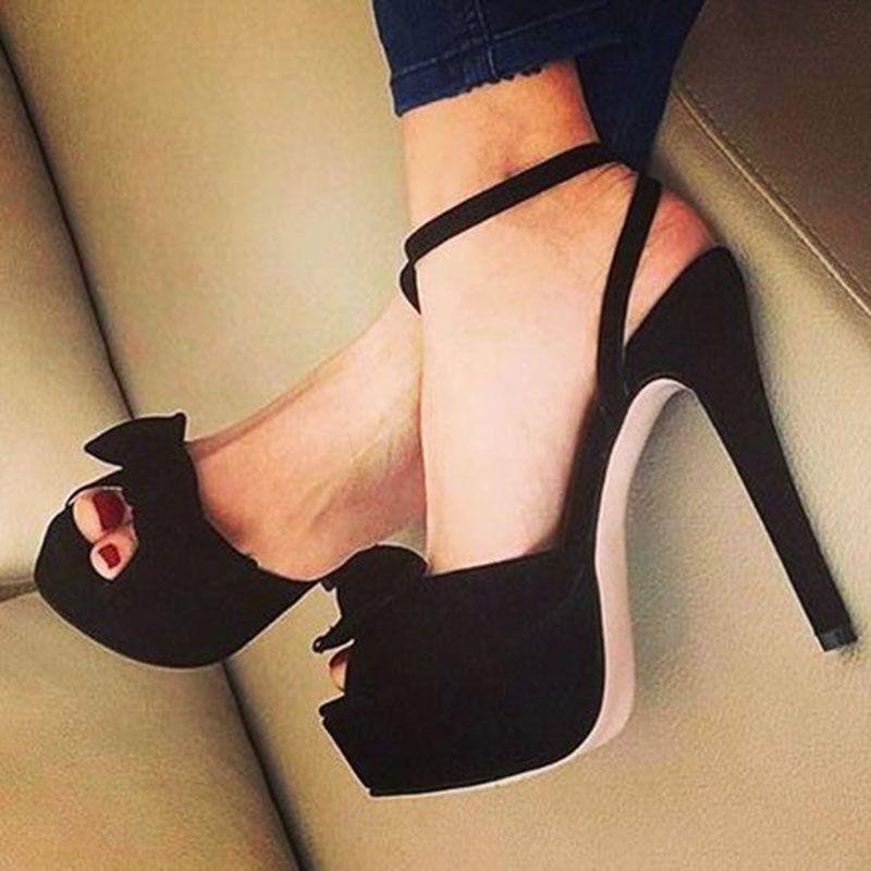 Shoes For Women Fabric Wedge Heel Platform Round Toe Heels Casual Black