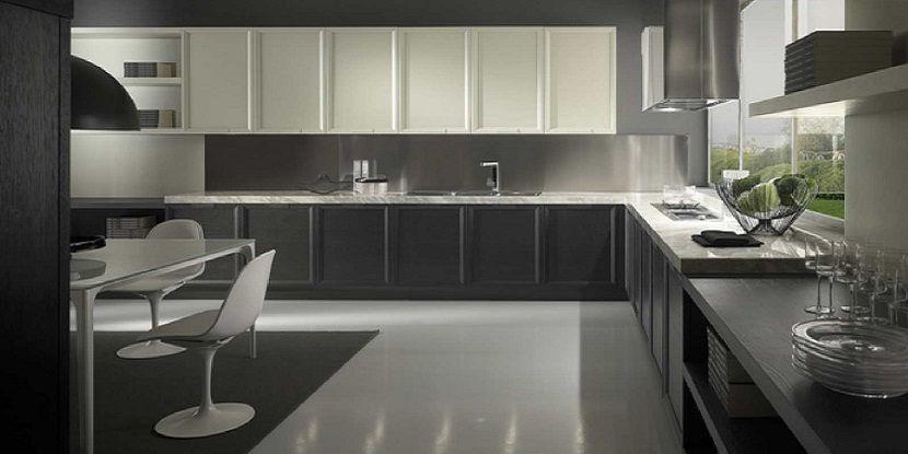 Modern Small Kitchen Design Ideas Black and White Color Theme Design