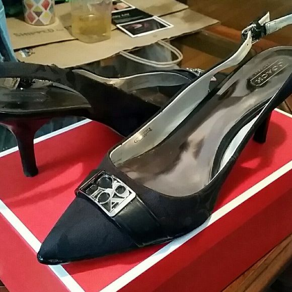 Coach slingback heels They are in very sharp and in good condition Coach Shoes Heels