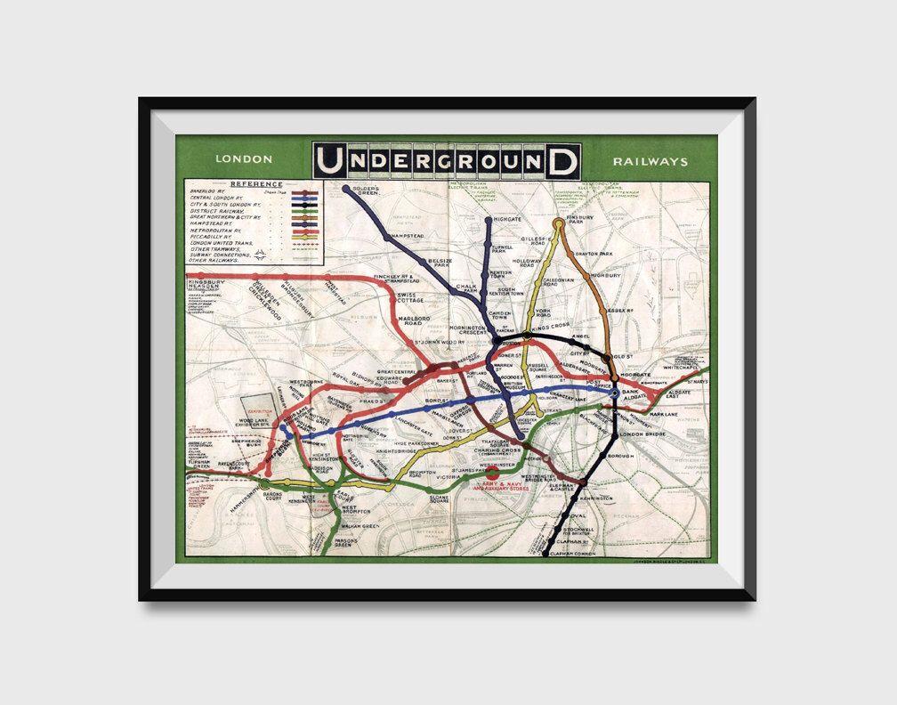 London underground map wall art poster london tube metro subway london underground map wall art poster london tube metro subway system charted in 1908 print gumiabroncs Choice Image