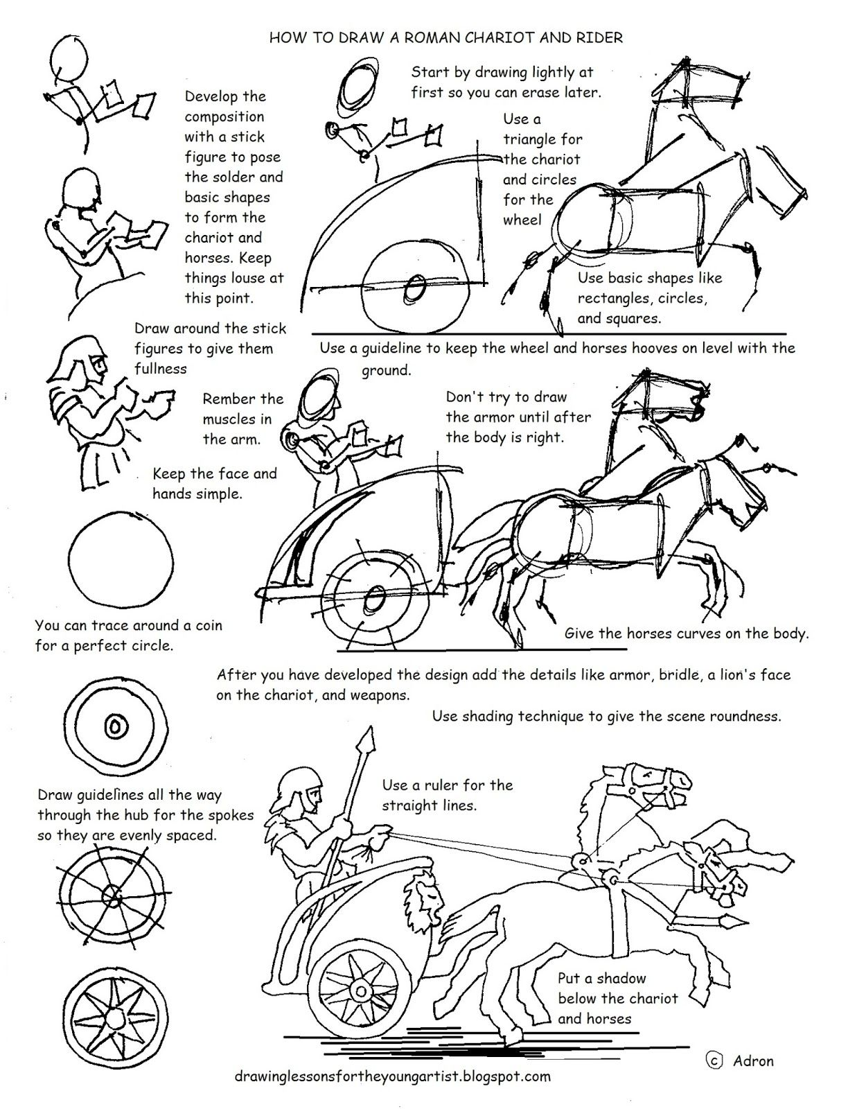 How To Draw A Roman Chariot And Rider Worksheet