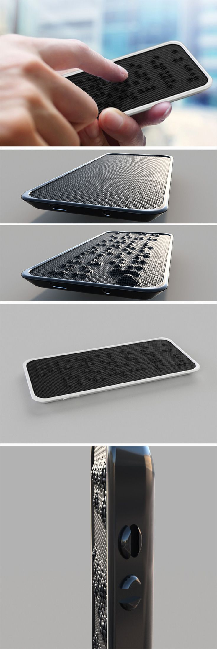 Touchscreens are probably the WORST interface for the visually impaired, that is why the Textura brings a screen replacement surface that is made for braille, along with a classy, sleek design to the phone.