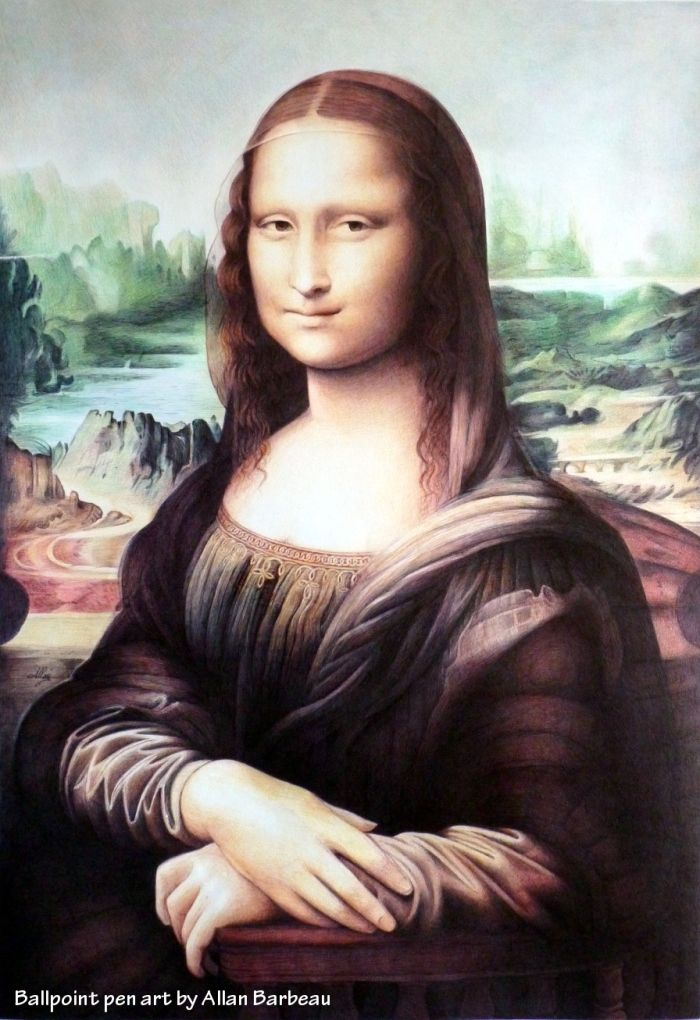 Mona Lisa with ballpoint pen  by Allan Barbeau
