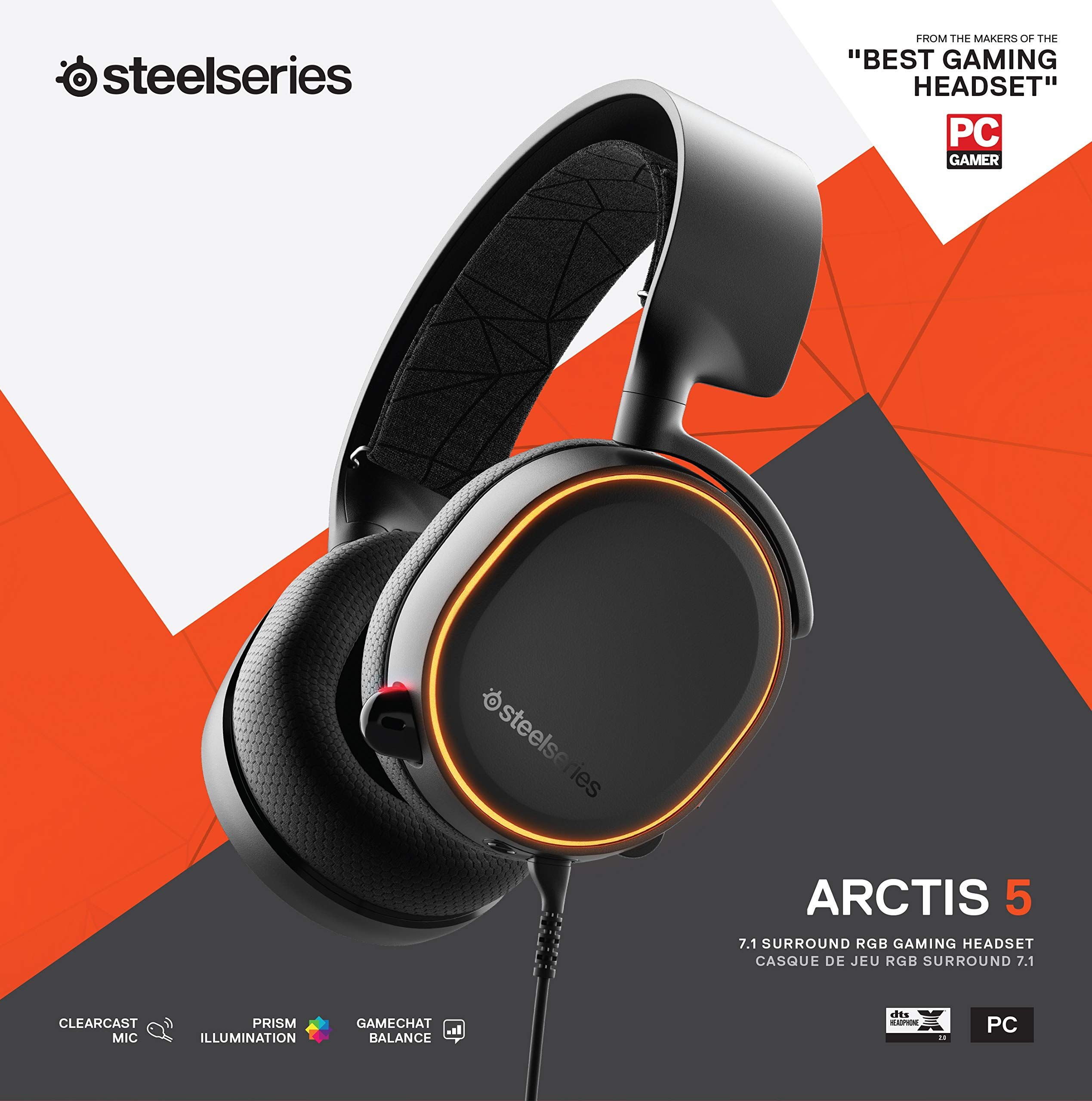 Steelseries Arctis 5 2019 Edition Rgb Illuminated Gaming Headset With Dts Headphone X V2 0 Surround For Pc And Playstation Headset Gaming Headset Steelseries