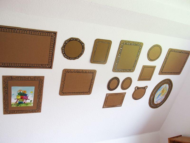 Gezeichnete Rahmen, Tapete, Upcycling, DIY, Edding, Marker, Schwarz, Weiß