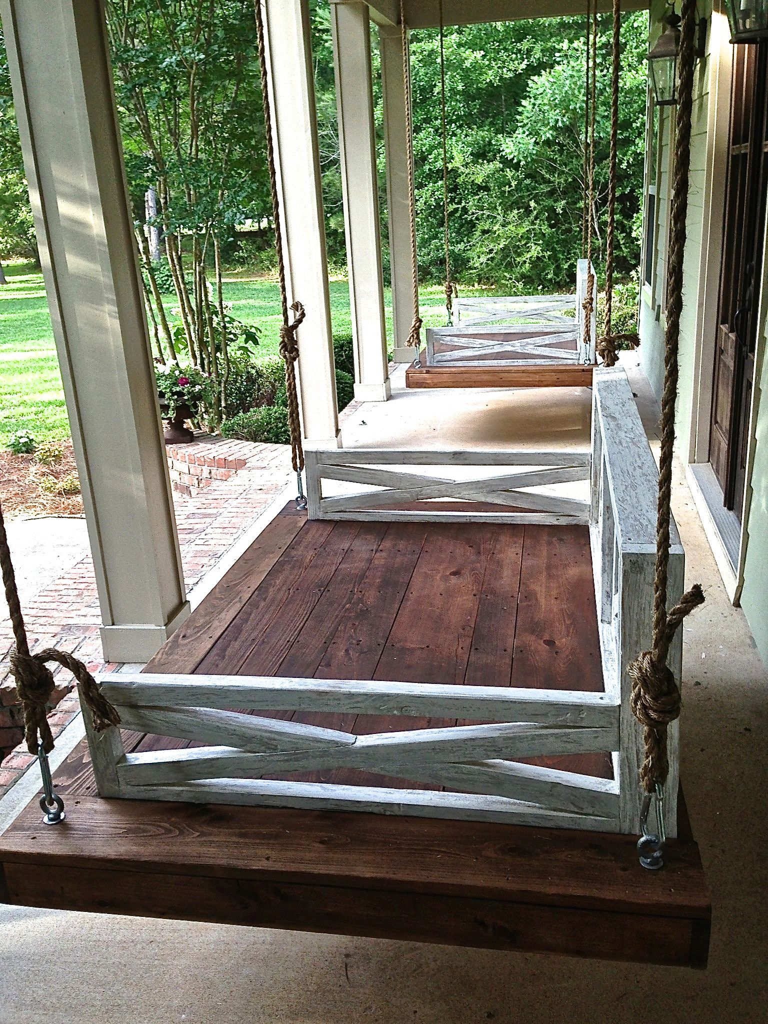 little space for a drink on side custom built distressed daybed swing porch swing - Front Porch Swing