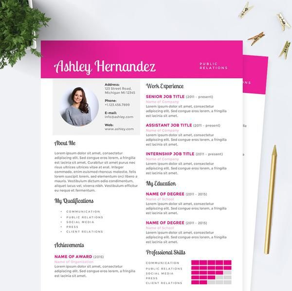 Bright Pink Public Relations Resume, Cover Letter