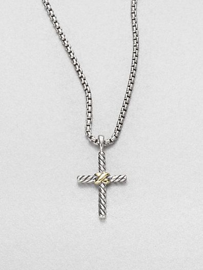 5a0bd27babf David Yurman - Sterling Silver   14K Yellow Gold Cross Necklace - Saks.com