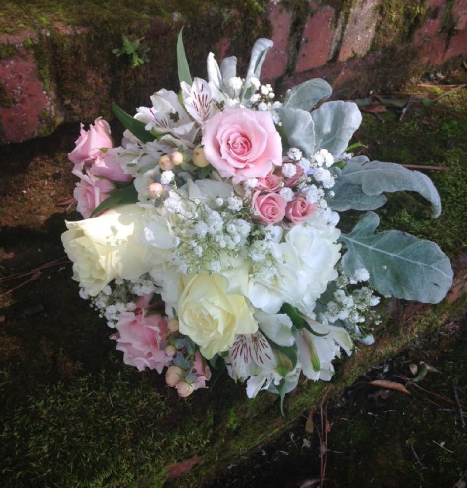 Bridal Bouquet Of Pink And White Roses White Hydrangea