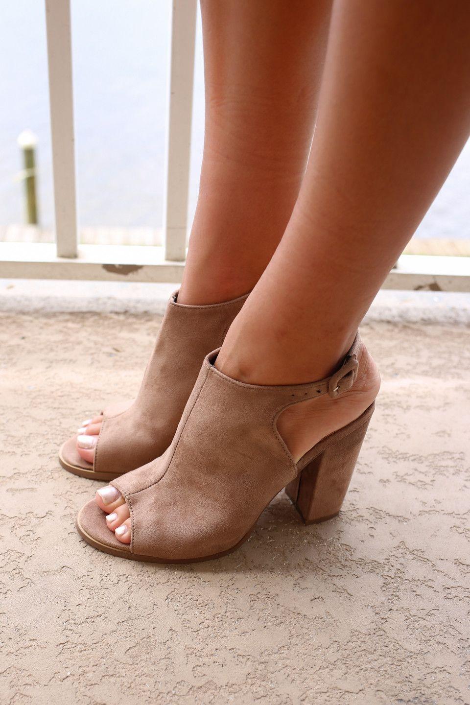Classic Taupe Heel Booties Buckles On Sides Heel Height
