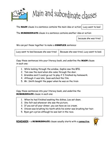 Subordinate clauses worksheet ks2