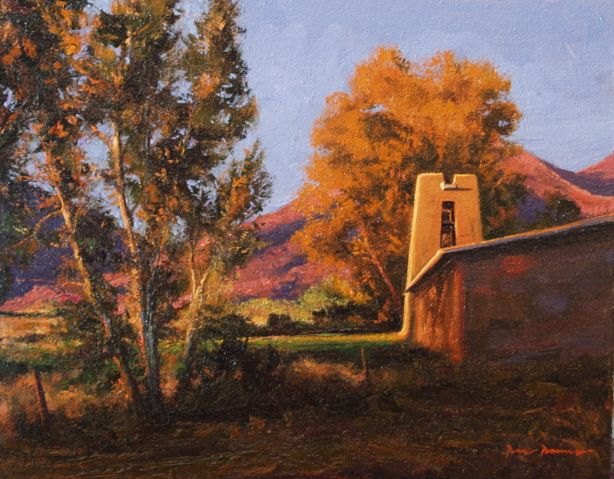 SOLD I Autumn Bell Tower I 8x10 I Dix Baines I Fine Artist Original Oil Paintings I Mountains I Southwest I New Mexico I www.dixbaines.com