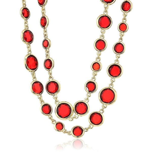 "Anne Klein ""Beacon"" Gold-Tone Red Strand Necklace ($45) ❤ liked on Polyvore featuring jewelry, necklaces, anne klein necklace, red jewelry, goldtone jewelry, gold tone jewelry and anne klein jewelry"