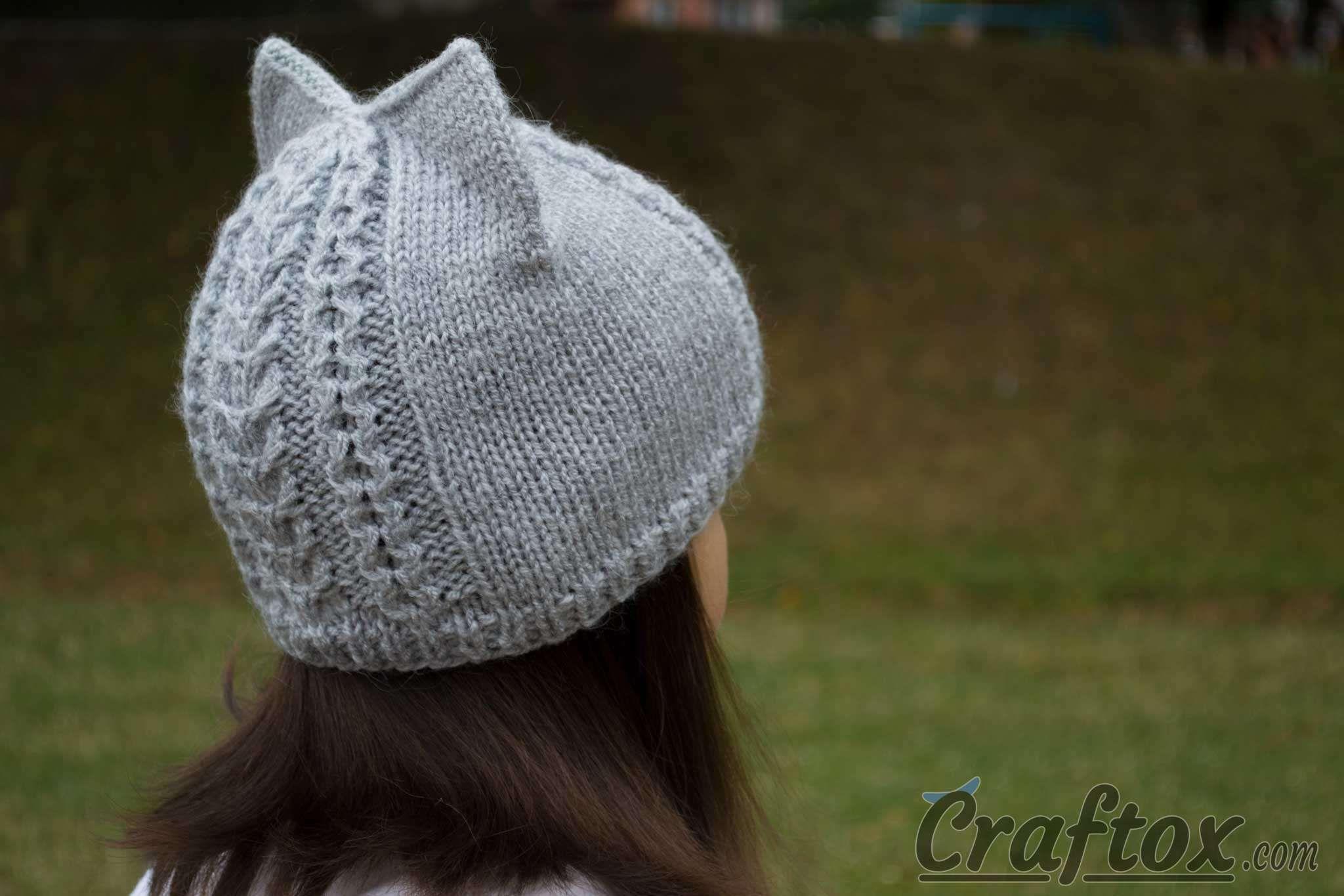 Knit cat ear hat. Back right view. Knit cat ear hat. Free ...