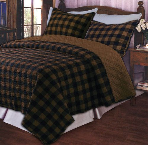 Classic Brown Black Country Oversize Quilt Set With Shams