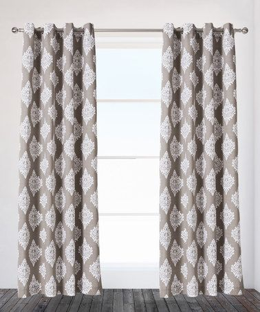 Look what I found on #zulily! Taupe Damask Curtain Panel - Set of Two #zulilyfinds