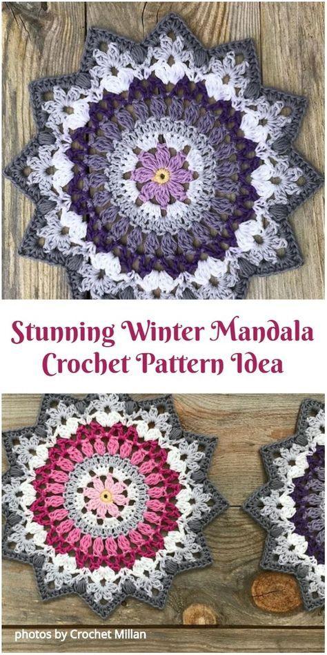 Stunning Winter Mandala Crochet Pattern #crochetmandalapattern
