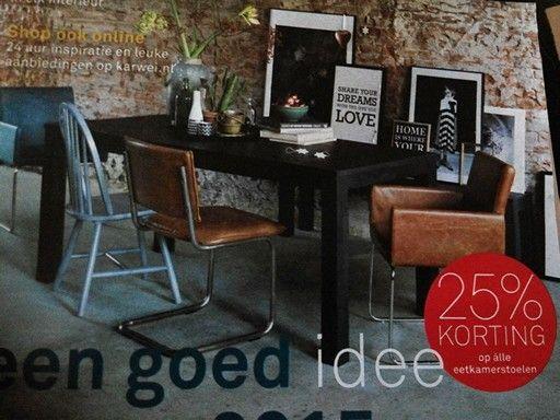 KARWEI   veschillende eetkamerstoelen in hetzelfde cognackleurige leer   Interieur   Pinterest