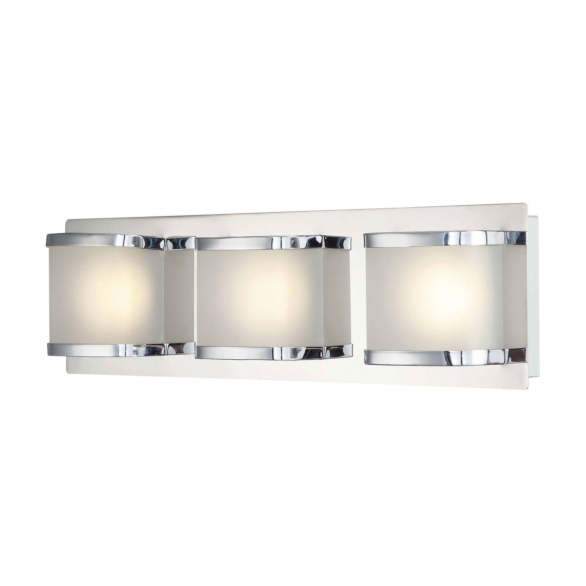 Bandeau 3 Lite Contemporary Vanity LED Opal Glass Chrome Finish