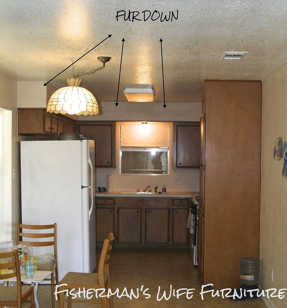 How To Cover Fur Down Soffit In The Kitchen Diy Kitchen Soffit White Kitchen Makeover Small White Kitchens