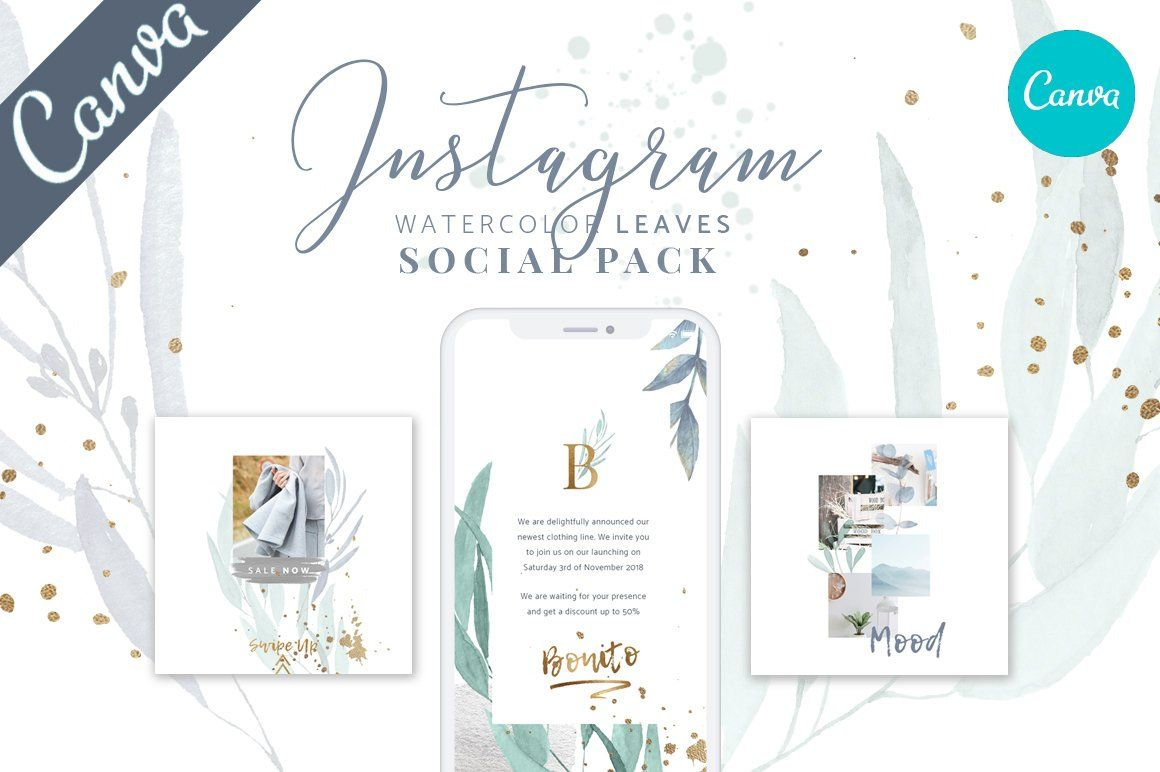 Canva Watercolor Instagram Pack Social Media Pack Instagram Template Instagram Post Template