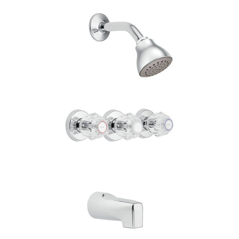 Moen 2995 Thermostatic Tub And Shower Trim With 2 5 Gpm Shower Head Tub Spout Chrome Faucet Tub And Shower Trip Tub And Shower Faucets Shower Tub Shower Faucet