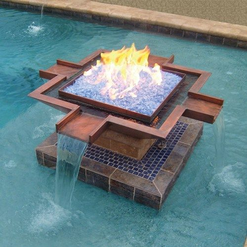 Copper, Water And Fire Mix In This Fire And Water Feature