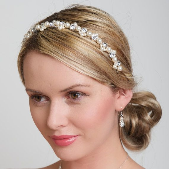 Diamante and Pearl Headband Wedding Prom Bridal Bridesmaid Hairband.