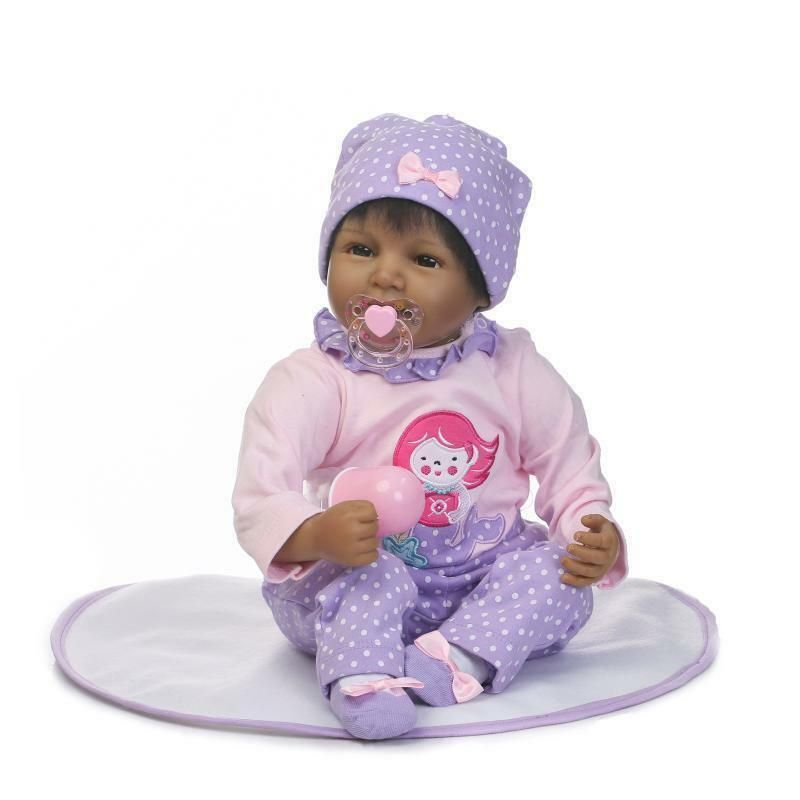 "22/"" Reborn Baby Doll Black African American Silicone Vinyl Realistic Lifelike"