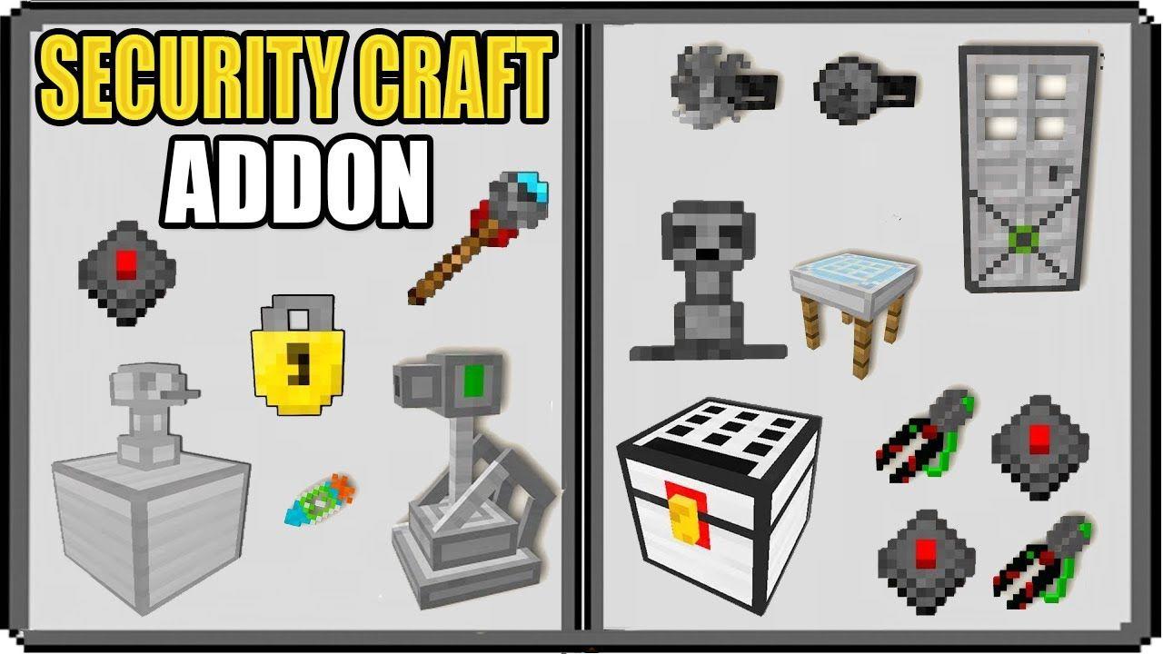 Security Craft Para Minecraft Pe 1 16 Torretas Minas Puerta Tramp Minecraft Minecraft Pe Torreta