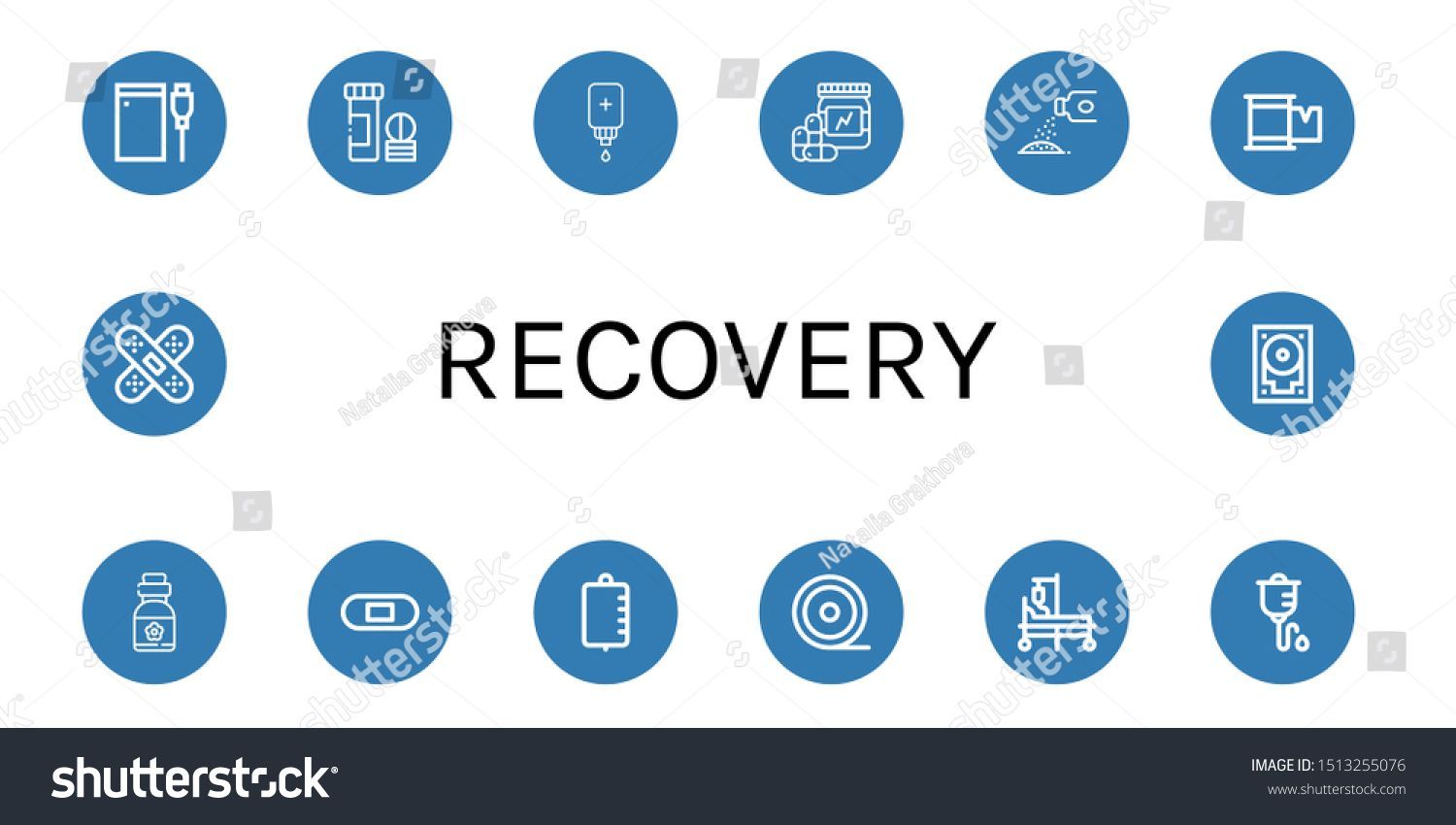 Set of recovery icons such as Hard drive, Vitamin