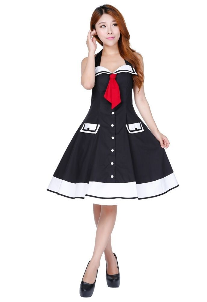details zu cstd 700a0 damen kleid rockabilly 50er jahre marine gothic lolita pin up 36 58. Black Bedroom Furniture Sets. Home Design Ideas
